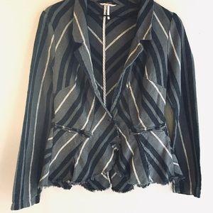 Free People Frayed Hem Blazer Jacket Size 12